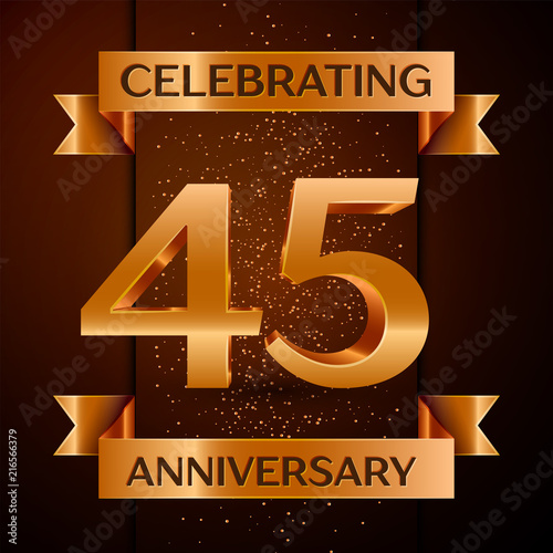 Plagát  5798521 Realistic Forty five Years Anniversary Celebration design banner