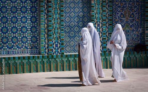 Mazar-e Sharif, Afghanistan, May 2004: Women in burqas at the Blue Mosque in Maz Canvas Print