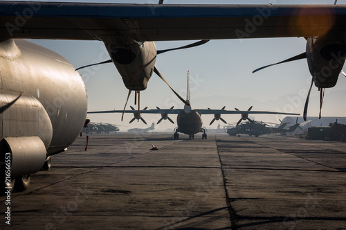 Photo Military aircraft fill Kabul Aiport, Afghanistan