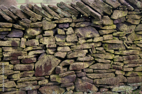 Fotografiet Dry stone wall in the Cheshire hillside, UK