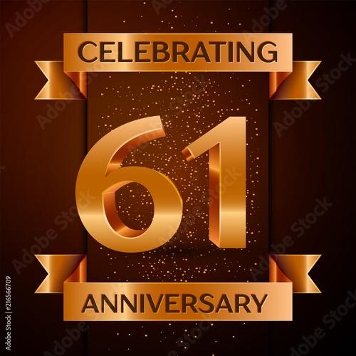 Fotografia  5798536 Realistic Sixty one Years Anniversary Celebration design banner