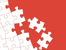 White Puzzles Arranged On A Red Background. Vector Illustration