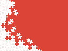Red Puzzle Pieces. Vector Back...