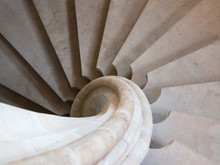 An Ancient Stone Spiral Staircase. Background. Stairs.