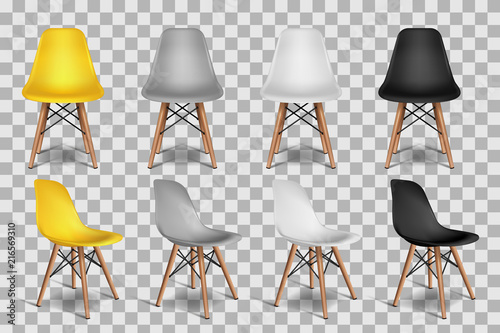 Vector realistic 3d illustration of chairs, isolated on transparent background. Loft interior isometric objects. © Betelgejze