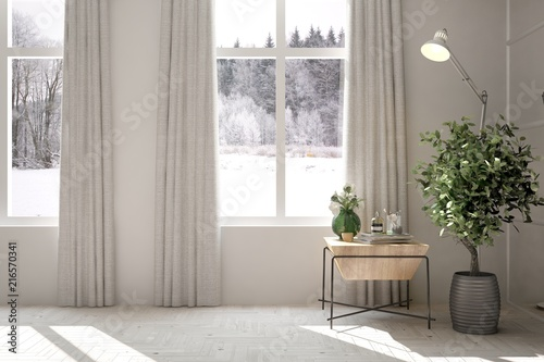 Poster Vegetal White empty room with winter landscape in window. Scandinavian interior design. 3D illustration