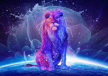 Abstract Multicolored Lion Sit...