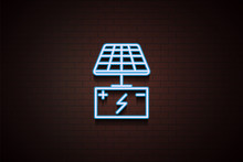 Solar Battery Icon In Neon Style