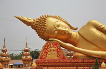 Reclining Buddha At Wat That Luang Tai Temple In Vientiane. Laos