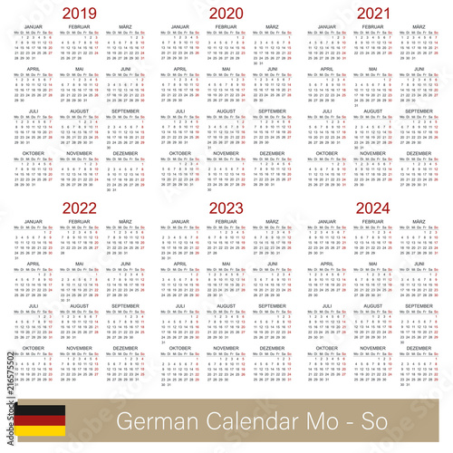 Poster  Portuguese planning calendar 2019 - 2024, week starts on Monday, simple calendar