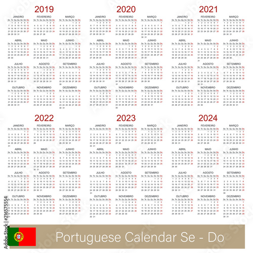 Poster  Portuguese planning calendar 2019 - 2024, week starts on Monday, simple calendar