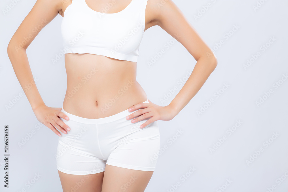 Fototapety, obrazy: Closeup asian woman beautiful body diet with fit isolated on white background, model girl weight slim with cellulite or calories, health and wellness concept.