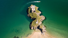 Aerial Drone View Of An Old, Historic Fort On A Small Island Off A Picturesque, Colorful Coastal Town (St Catherine, Tenby)
