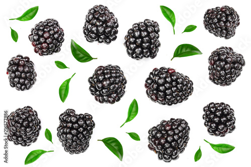 Fotografija  Fresh blackberry with leaves isolated on white background