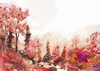 Fototapeta Jesień Watercolor autumn landscape.