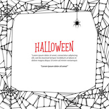 Halloween Square Frame Black Cobweb And Spider On White Background Ilustration Vector. Halloween Concept.