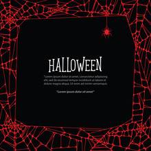Halloween Square Frame Red Cobweb And Spider On Black Background Ilustration Vector. Halloween Concept.
