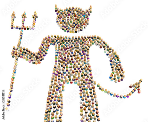Cartoon Crowd Figure, Devil Canvas-taulu