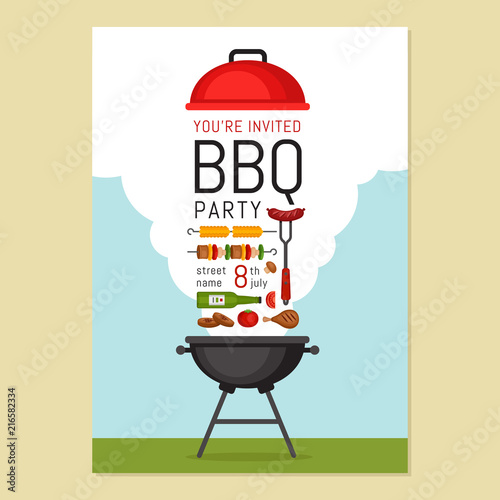 Photo Bbq party invitation with grill and food