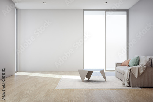 Wooden Floor With Empty Gray Concrete Wall Background In