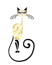 Siamese Cat Design. Vector Ill...