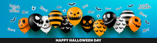 Halloween Banner With Halloween Ghost Balloons.Scary Air Balloons.Website Spooky Or Banner  Template. Vector Illustration EPS10