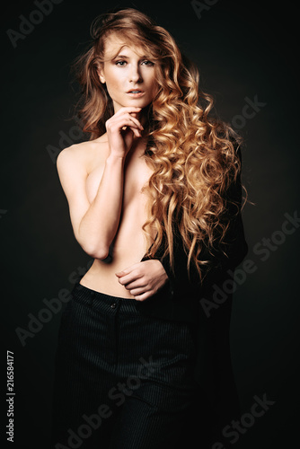Poster Akt topless young woman