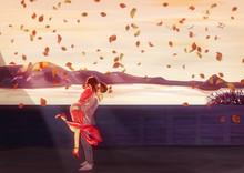 Autumn Romantic Date. Painting Illustration. Love Concept