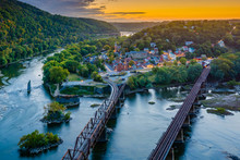 A Sunset View From Maryland Heights, Overlooking Harpers Ferry, West Virginia.