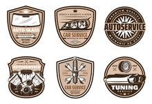 Auto Service Retro Badge Of Ca...