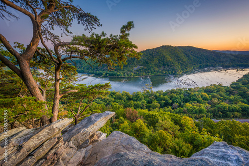 Sunset view of the Potomac River, from Weverton Cliffs, near Harpers Ferry, West Virginia Wallpaper Mural