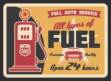Gas Station Retro Banner With Petrol Pump And Car