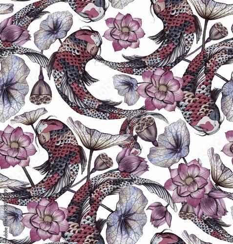 bezszwowy-wzor-z-karpiem-i-lotosami-recznie-rysowane-ilustracji-akwarela-z-koi-i-kwiatow-lotosu