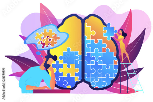 Man doing human brain puzzle Fototapeta