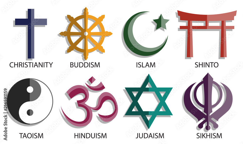 Fototapety, obrazy: world religion symbol icon set
