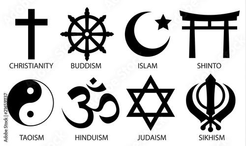 Valokuva world religion symbol icon set