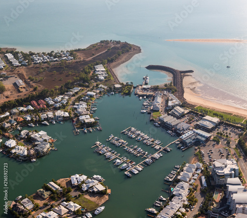 Canvas Print An aerial photo of Cullen Bay, Darwin, Northern Territory, Australia showing mar
