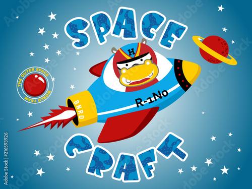In de dag Cartoon draw Vector illustration of funny animal cartoon on spacecraft