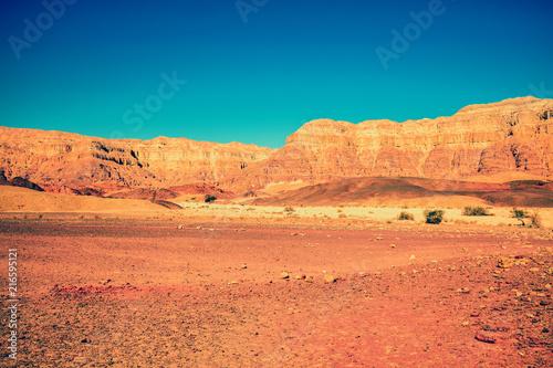 Fotobehang Koraal Mountain desert landscape. Desert Arava, Israel