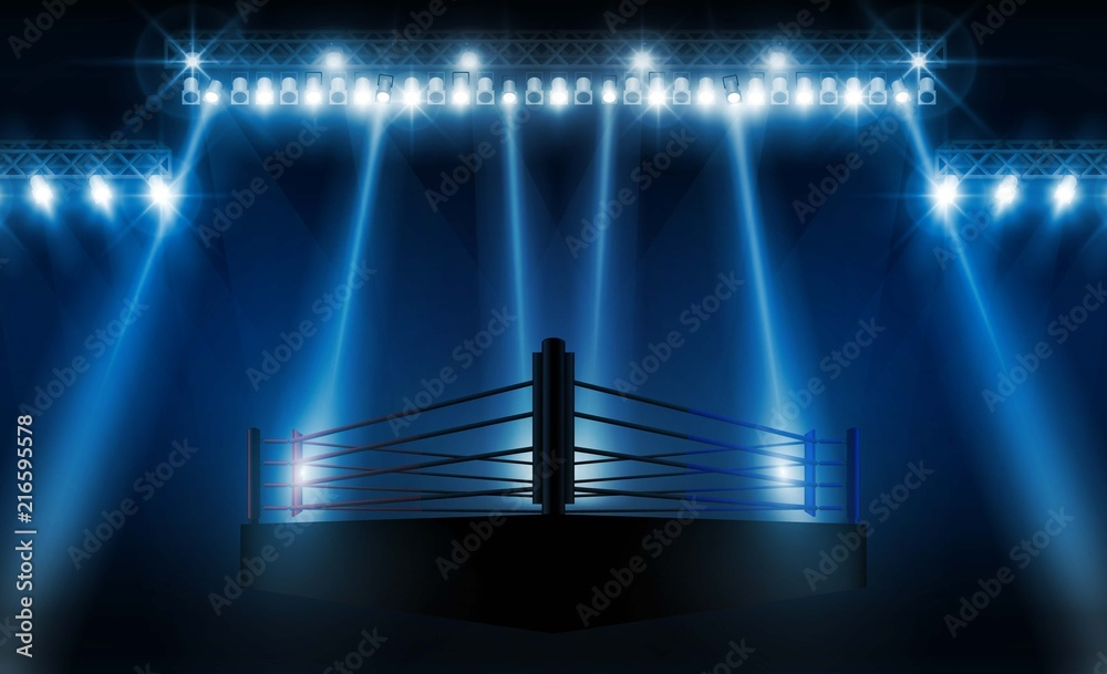 Fototapety, obrazy: Boxing ring arena vs letters for sports and fight competition. Battle and match design. Vector illumination
