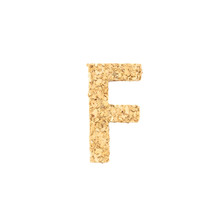 Closeup Cork Wood In F Alphabet Isolated On White Background