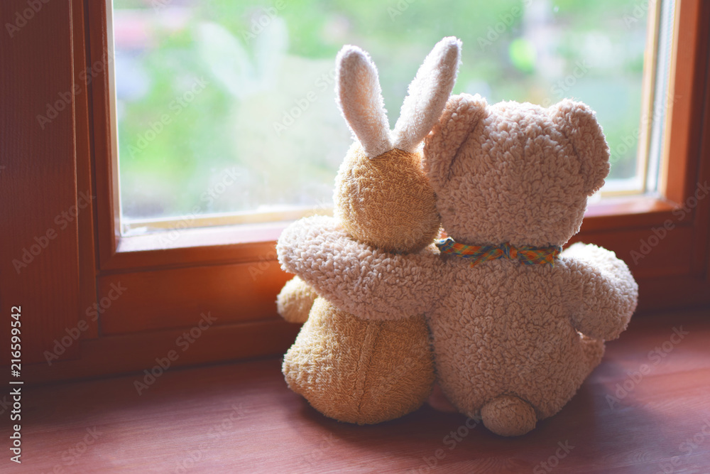 Fototapeta Best friends teddy bear and bunny toy sitting on brown window sill hugging each other and looking out of window on vintage tone. Love, family and friendship background.