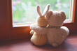 canvas print picture - Best friends teddy bear and bunny toy sitting on brown window sill hugging each other and looking out of window on vintage tone. Love, family and friendship background.