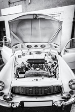 Engine Under The Hood Of An Old Car, Colorless
