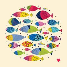 Cute Fish. Around Motif With Fish.