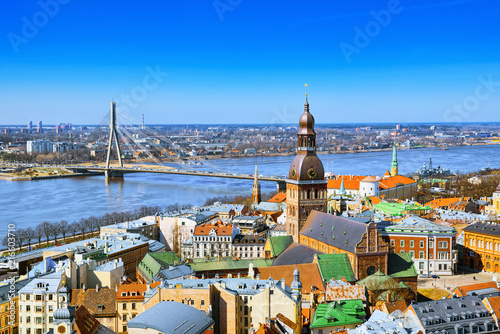 Fototapeta Panoramic view of the city of Riga, Latvia from the height of the tower Church of St