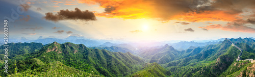 Staande foto Historisch geb. Majestic Great Wall of China at sunset,panoramic view
