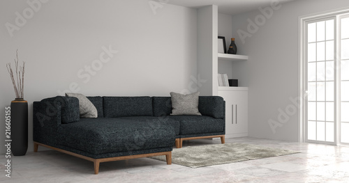 home improvement living room modern sofa white cabinet in empty room