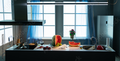 Awe Inspiring On The Kitchen Table A Huge Sweet Watermelon Kaufen Sie Best Image Libraries Thycampuscom