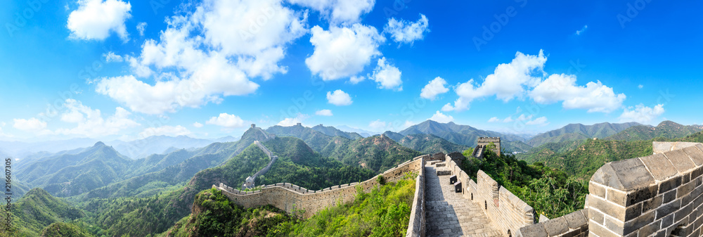 Majestic Great Wall of China under the blue sky,panoramic view